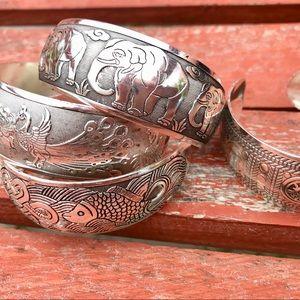 Jewelry - 4 CUFFS BANGLE SET silver carved BRACELET ELEPHANT